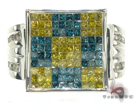 White Gold Round Princess Cut Invisible Channel Multi Color Diamond Ring Stone