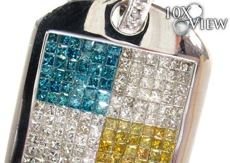 White Gold Round Princess Cut Invisible Prong Multi Color Diamond Dog Tag Style