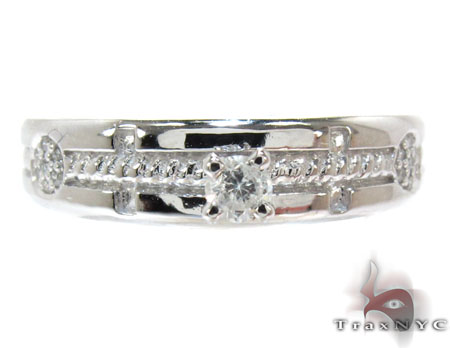 White Gold Round Cut Prong Tension Diamond Ring Wedding