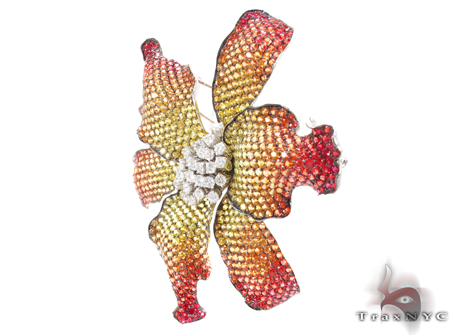 Multi Colored Sapphire & Diamond Exotic Flower Brooch Stone