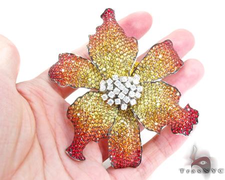 Multi Colored Sapphire & Diamond Exotic Flower Brooch 25029 Stone