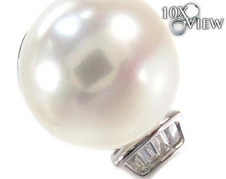 White Pearl Diamond Earrings 27343 Stone