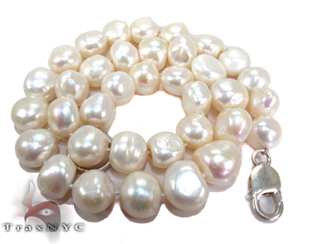 White Pearl Silver Necklace 27607 Pearl