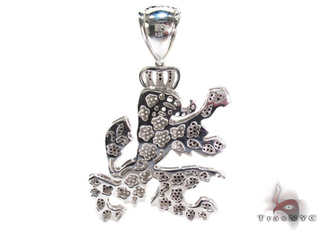 White Rhodium Silver Dragon Pendant Metal