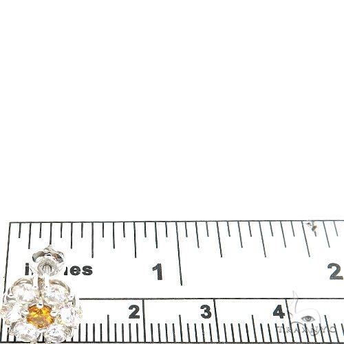White Sapphire Orange Center Flower Earrings 67144 Multicolor SAPPHIRE