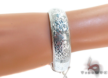 White Silver DC Bangle Silver & Stainless Steel
