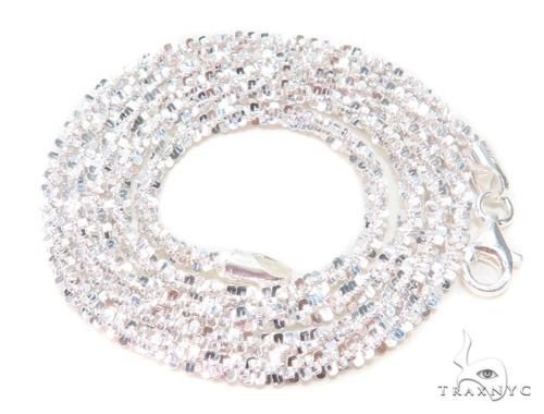 White Silver Glitter Chain 20 Inches, 3mm, 8.9 Grams Silver