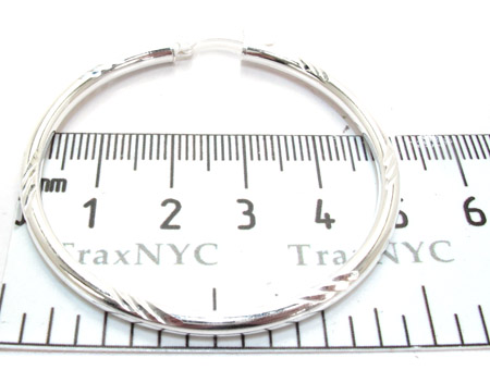 White Silver Hoop Earrings Metal