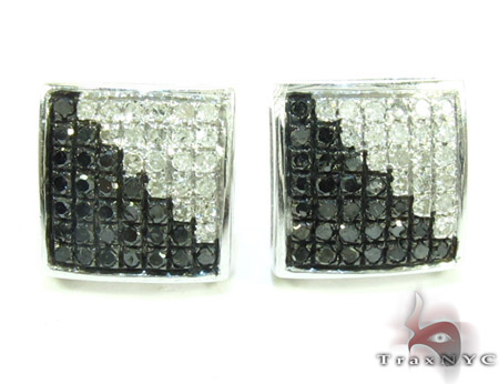 White Silver Round Cut Prong Black White Color Diamond Square Earrings 25299 Metal