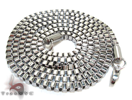 White Stainless Steel Chain 24 Inches 4mm 21.4 Grams 24029 Stainless Steel