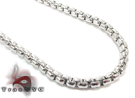 Stainless Steel Round Box Link Chain 24 Inches, 4mm, 27.9 Grams Stainless Steel