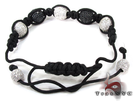 White and Black Crystal Rope Bracelet 27742 Silver