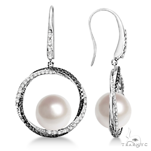 White and Black Diamond Paspaley Cultured South Sea Pearl Earrings (11mm) Stone