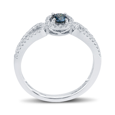 White and Blue Fancy Colored Round Diamond Loop Circle Ring in 14K White Gold Engagement