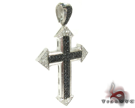 XL Silver Black Diamond Cross Silver