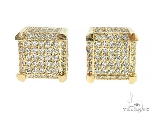 YG Cube Earrings Stone