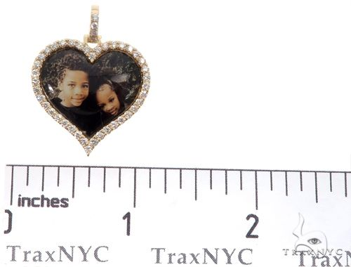 14k Yellow Gold Custom Photo Heart Pendant 1 Inch 64640 Stone