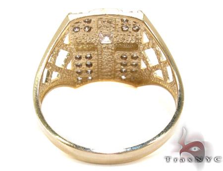 Yellow 10K Gold CZ Cross Crucifix Ring 25257 Metal
