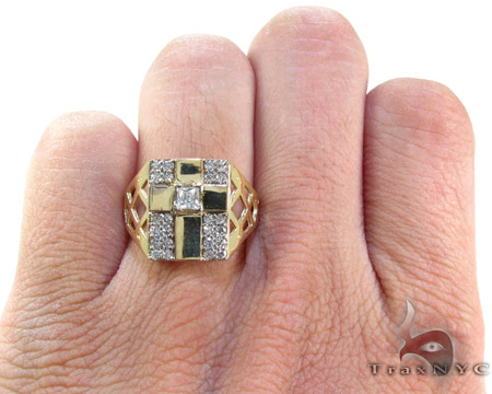Yellow 10K Gold CZ Cross Crucifix Ring 25257 Metal