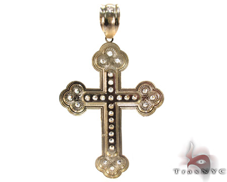 Yellow 10K Gold CZ Jesus Cross Crucifix Pendant 25307 Gold