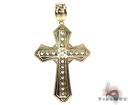 Yellow 10K Gold CZ Jesus Cross Crucifix Pendant 25310 Gold