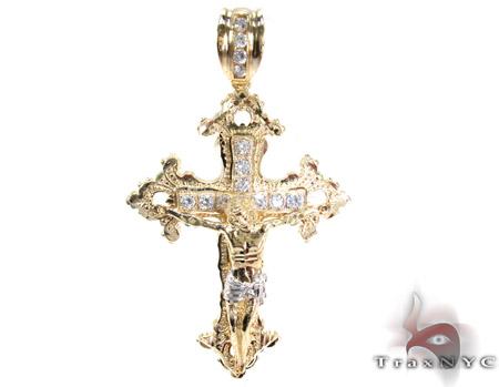Yellow 10K Gold CZ Jesus Cross Crucifix Pendant 25314 Gold