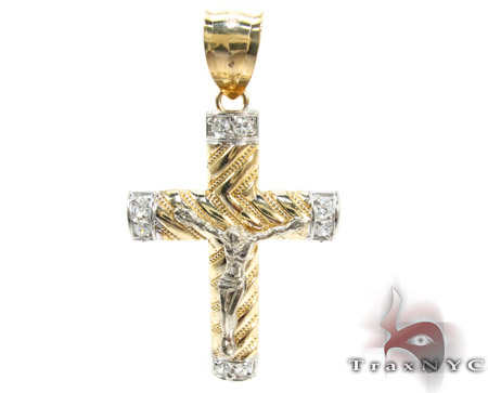 Yellow 10K Gold CZ Jesus Cross Crucifix Pendant 25318 Gold