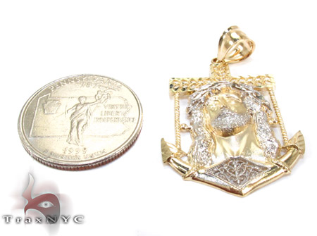 Yellow 10K Gold CZ Jesus Pendant 25323 Metal