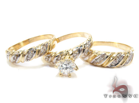 10K Gold His & Her CZ Ring Set 25275 Engagement