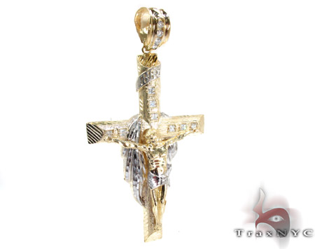 Yellow 10K Gold CZ Jesus Cross Crucifix Pendant 25306 Gold