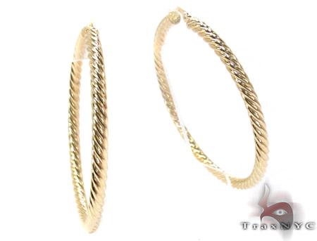 14K Yellow Gold Textured Hoops Metal
