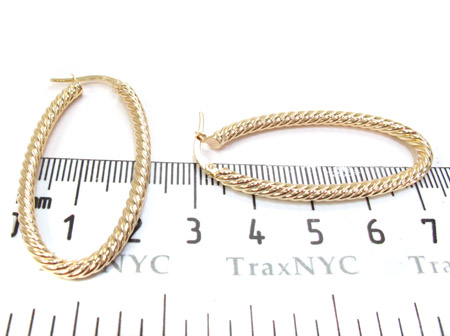 14K Yellow Gold Graded Hoop Earrings Metal
