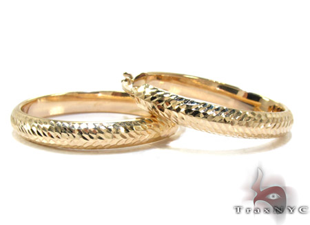 Yellow 14K Gold Hoop Earrings Metal