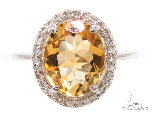 Citrine & Diamond Silver Ring 36826 Anniversary/Fashion