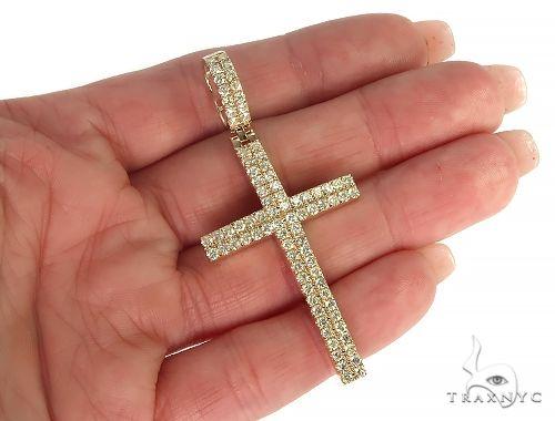 14K Gold 2 Row Diamond Cross 66175 Diamond