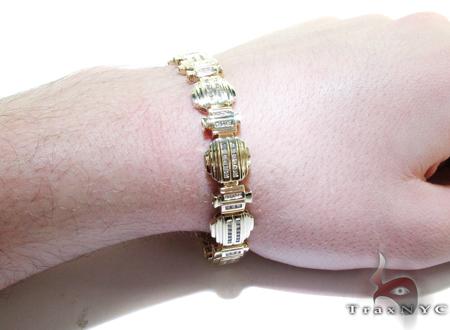 Yellow Gold Baguette Cut Round Diamond Bracelet Diamond