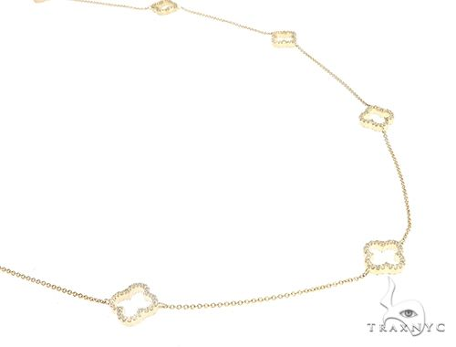 Yellow Gold Clover Link Prong Diamond Necklace 65399 Diamond