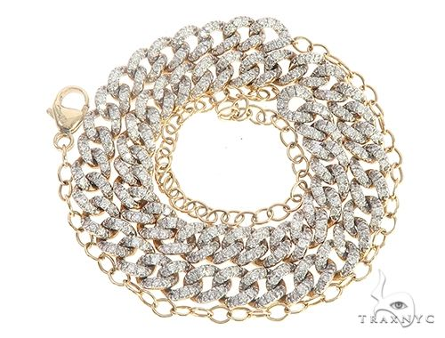 Yellow Gold Cuban Curb Link Prong Diamond Choker Necklace 65403 Diamond