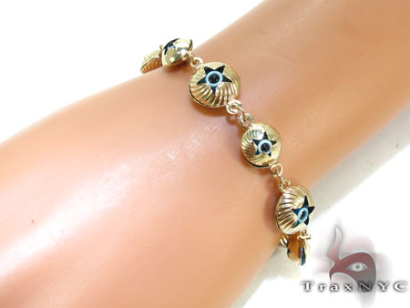 Yellow Gold Evil Eye Star Bracelet Gold
