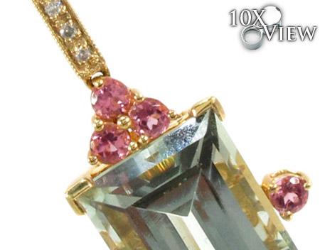 Yellow Gold Amethyst & Tourmaline Diamond Pendant 27839 Stone