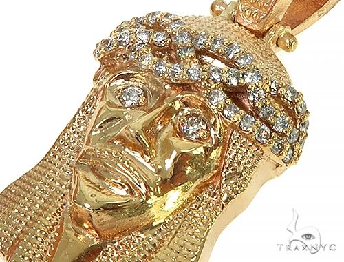 Yellow Gold Jesus Diamond Pendant Style