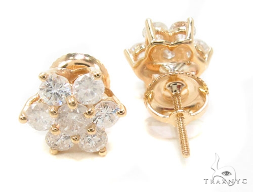 Yellow Gold Medium Flower Earrings Stone