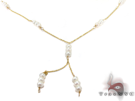 Yellow Gold Pearl Necklace Pearl
