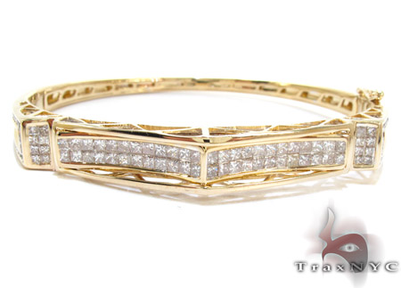 Yellow Gold Princess Round Cut Invisible Channel Diamond Bangle Bracelet Bangle