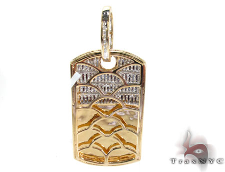 Yellow Gold Princess Round Cut Invisible Channel Diamond Dog Tag Style