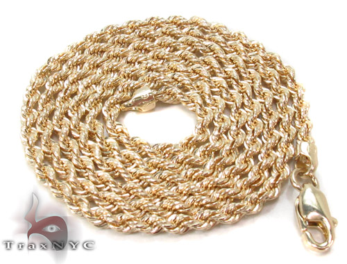 Yellow Gold Rope Chain 16 Inches 2mm 1.9 Grams Gold