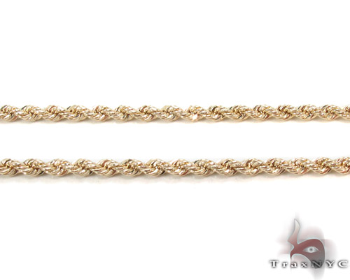 Yellow Gold Rope Chain 18 Inches 2mm 2.7 Grams Gold