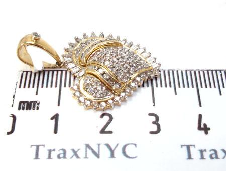 Yellow Gold Round Baguette Cut Prong Channel Bezel Diamond Heart Pendant Style