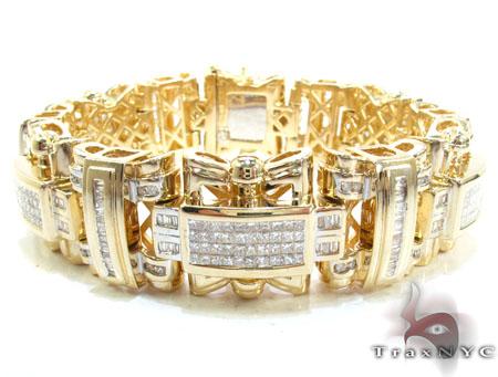 Yellow Gold Round Baguette Princess Cut Invisible Channel Diamond Bracelet Diamond