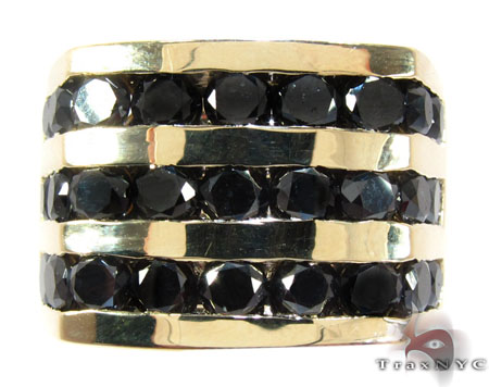 Yellow Gold Round Cut Channel 3 Row Black Diamond Ring Stone